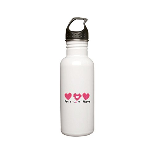 Stainless Water Bottle 0.6L Cancer Peace Love Friends Pink Ribbon