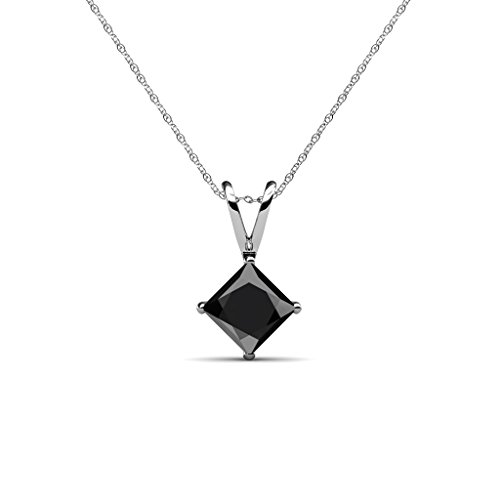 Black Diamond Princess Cut Solitaire Pendant 2.00 ct 14K White Gold with 18 Inches 14K White Gold (Diamond Princess Cut Solitaire Pendant)