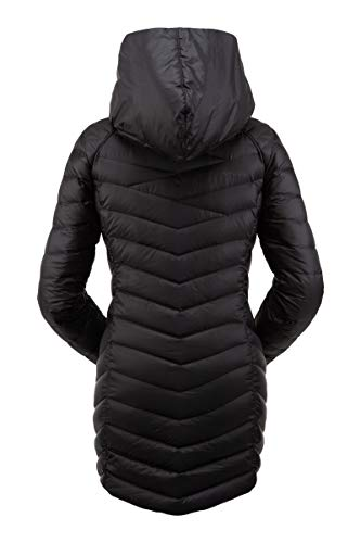 Spyder Women's Timeless Long Down Jacket - Paneled Puffy Lightweight Hooded Full Zip, Large, Black