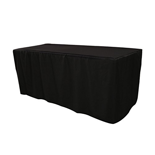 Your Chair Covers - 6 ft Polyester Fitted Tablecloth - Black, Premium Quality