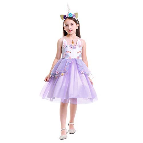 Flower Girl Rainbow Unicorn Tulle Dress with 3D Embroidery Beading Birthday Party Ball Gowns Z# Flower Purple+Headband 2-3 Years]()