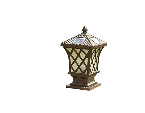 Outdoor Waterproof Column Headlight Solar Post Lantern Garden Décor Light Transitional Exterior Porch Pole Fence Entrance Landscape Streetlights Pillar Lights (Size : Style C)