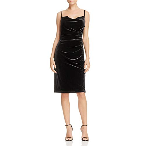 - Laundry by Shelli Segal Women's Stretch Velvet Shirred Cocktail Dress, Black, 2