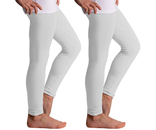 Popular Girls' Seamless Footless Tights - 2 Pack - White - L/XL