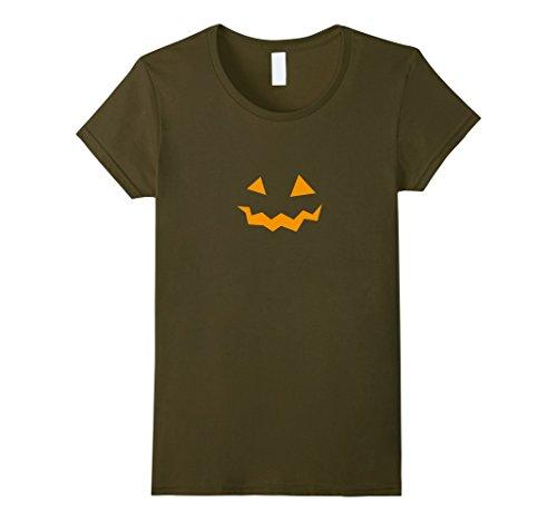 Womens Halloween Jack-O-Lantern Pumpkin Costume Face TShirt Small Olive -
