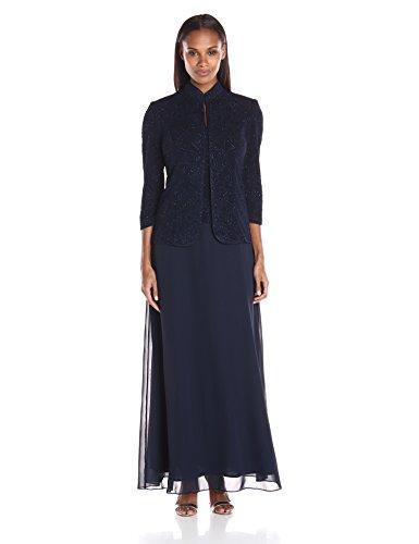 Alex Evenings Women's Jacquard Glitter Knit Long Dress and Mandarin-Neck Jacket, Navy, 16