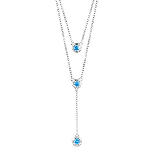 SHEGRACE 925 Sterling Silver Double Layered Necklace, with Three Round AAA Zircon Pendant 16
