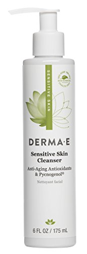 Derma Hydrating Moisturizer - DERMA E Fragrance Free Sensitive Skin Cleanser with Pycnogenol, 6 Oz