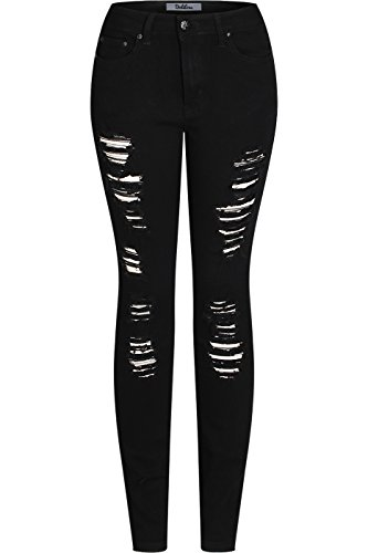2LUV Women's Stretchy 5 Pocket Destroyed Black Skinny Jeans Black (Back Skinny Jeans)