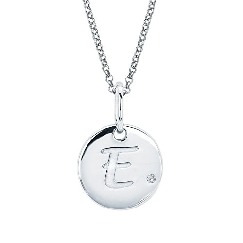 Little Diva Diamonds Sterling Silver Diamond Accent Disc 'E' Initial Pendant - Gold Flower Diamond White Pendant