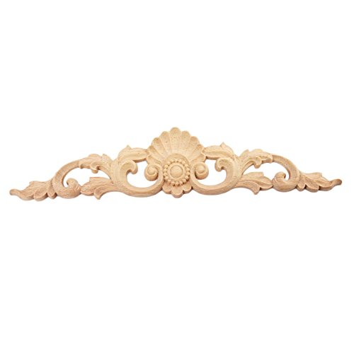 1pc 30x6.5cm Wood Carved Long Onlay Applique Unpainted Furniture Door European Style (Dark Wood Carved)