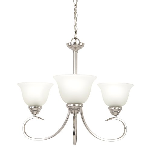 - Yosemite Home Decor 93433-3SN Ribbon Fall Collection Three Light Chandelier, 3, Satin Nickel, 63 Piece