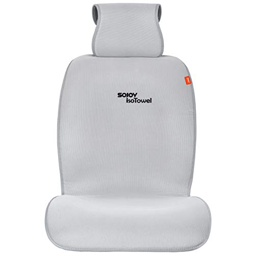 (Sojoy Cooling Car Seat Cover Microfiber Seat Protector, with Quick-Dry, No-Slip Technology. Car Seat Protection for All Workouts, All-Weather (Gray) )