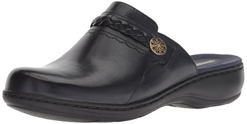 CLARKS Women's Leisa Carly Loafer Flat, Navy Leather, 070 W US