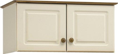 Steens Schrankaufsatz mit 2 Türen, cremefarbene MDF / gebeizte Kiefer, 88 cm x 57cm x 42 cm