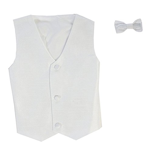 (Vest and Clip On Baby Boy Bowtie set - WHITE - L/XL (12-24 Months))