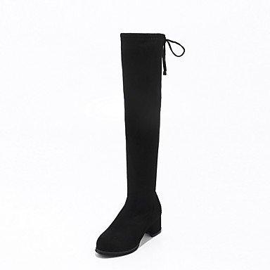 Desy Invierno botas THIGH punta amp; para polar de de bodas Otoño cordones botas talón zapatos equitación redonda botas mujer HIGH Fashion Chunky Botas forro zrTzPnwq