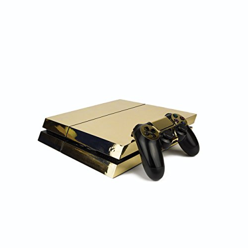 Premium-PS4-PlayStation-4-Metallic-Vinyl-Wrap-Skin-Cover-for-PS4-Console-and-PS4-Controllers-Chrome-Gold
