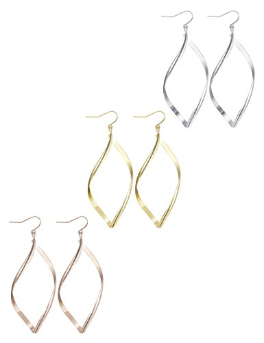 - Finrezio 3 Pairs Infinity Hoop Earrings for Women Linear Loops Dangle Earrings Set