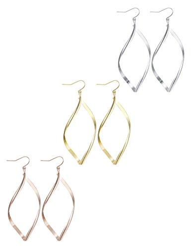 Finrezio 3 Pairs Infinity Hoop Earrings for Women Linear Loops Dangle Earrings Set
