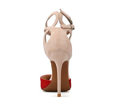 Stiletto Cinghia Donna Zpl Doppio Pompe Le Festa Sandali Rosso Caviglia Tacco Signore Appuntito Scarpe Alto Tribunale wvvdzp5q