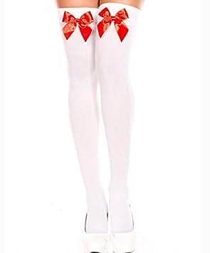 Liuxc Medias medias Medias con Corbata de Lazo Calcetines sangrientos de Halloween niñas con Estampado de