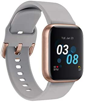 iTouch Air 3 Smartwatch for Fitness, iPhone and Android Compatible, Pedometer, Walking and Running Tracker for Women and Men (Grey/Rose Gold)