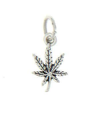 (Sterling Silver Marijuana Pot Leaf Miniature Cannabis Charm for Pendant Bracelet)