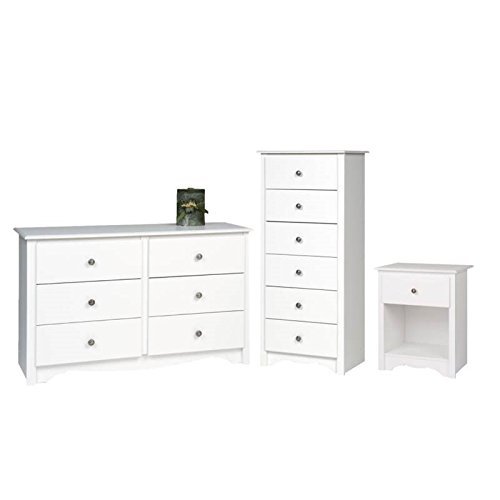 Home Square 3 Piece Bedroom Set with Nightstand, Dresser, and Lingerie Chest in White