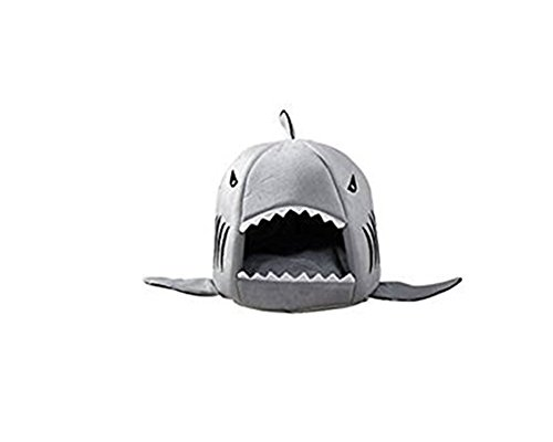 Cat Dog Bed, Keepfit Shark Bed Collapsible Pet Puppy Warm House Cave Removable Cushion Shelter (M, Gray)