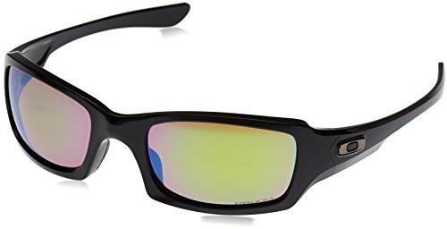 (Oakley Men's Fives Squared Iridium Rectangular Sunglasses, Polished Black/Prizm Shallow Water Polarized, 54.0 mm)