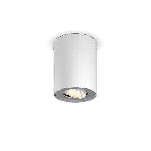 Weiß Philips Hue LED Spot Pillar Erweiterung, dimmbar, alle Weißschattierungen, steuerbar via App, weiß, kompatibel mit Amazon Alexa (Echo, Echo Dot)