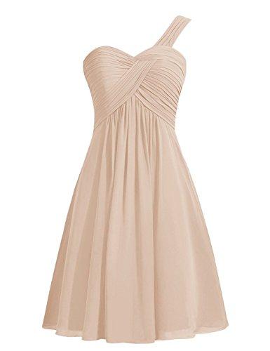 CoutureBridal® Brautjungferkleid Schulter Chiffon ParteiKleid Ein Champagner Abendkleid Plissee RUO7wPq