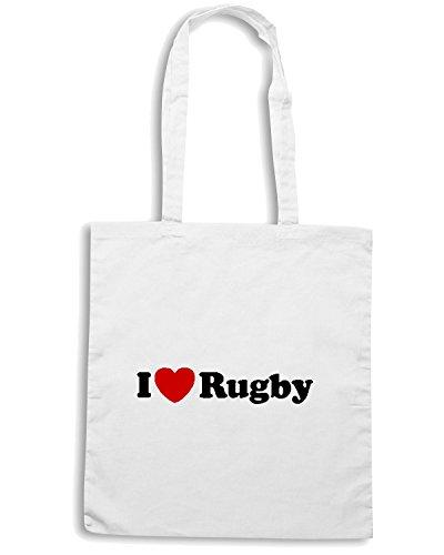 T-Shirtshock - Bolsa para la compra TRUG0021 i love rugby logo Blanco