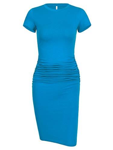 Women's Ruched Casual Plain Sundress Knee Length Sheath Bodycon T Shirt Dress (Short Sleeve Acid Blue, Large)