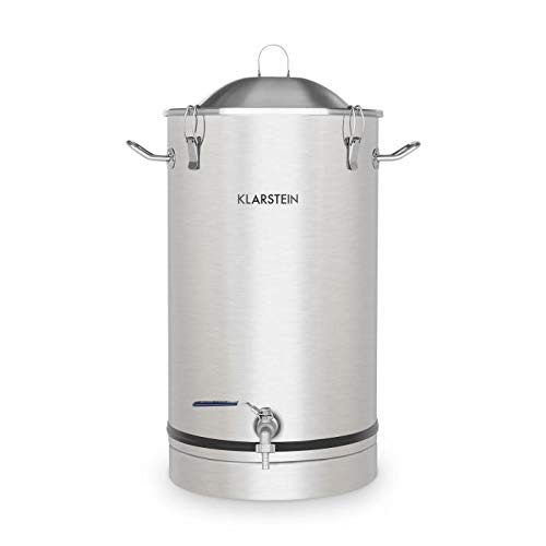 Klarstein Maischfest • Fermenting Kettle • Beer Brewer • Mash Tun • 304 Steel • Home Fermentation of Beer and Wine • 25-litre Capacity • Includes Fermentation Vials • Stainless Steel from KLARSTEIN