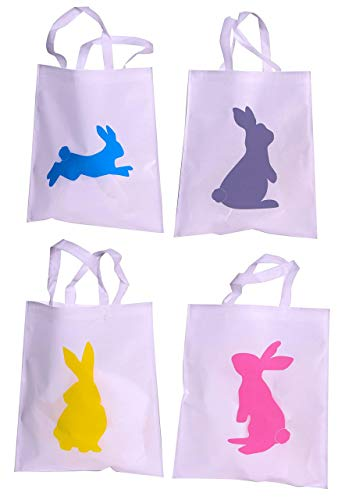 Bulk 24 Pack Easter Egg Hunt Tote Bag Assortment - Four Colorful Styles Ready For The Largest Easter Event ()