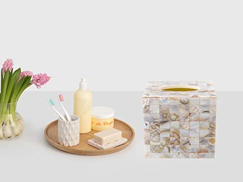 REPLICARTZ Beautiful Mother of Pearl Square Tissue Holder - Decorative Tissue Box Cover