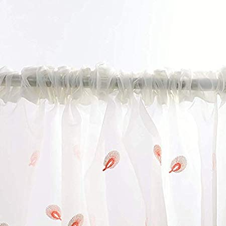 Blue,W39xH47 Embroidered Peacock Pattern Rod Pocket Top Semitransparent Light and Airy Voile Panel Drapes for Small Windows Inch Short Semi Sheer Curtains for Nursery