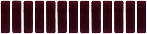 Burgundy Carpet - Euro Collection Stair Treads Collection Indoor Skid Slip Resistant Carpet Stair Tread 8 ½ inch x 30 inch (Set of 13, Burgundy)