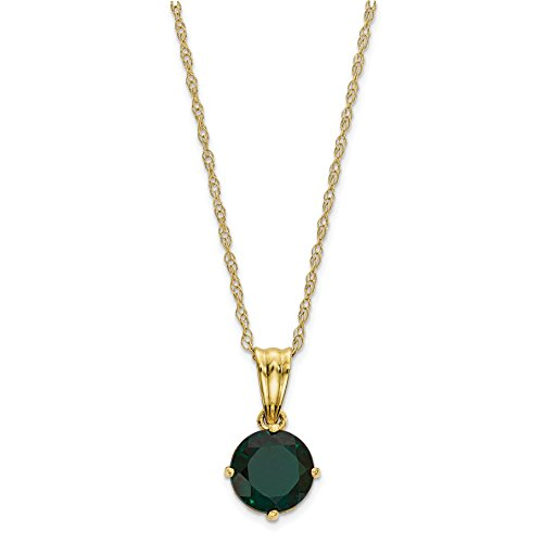 ICE CARATS 10k Yellow Gold Tiara Collection Diamond Lab Created Green Emerald Chain Necklace Set Gemstone Fine Jewelry Gift Set For Women Heart by ICE CARATS