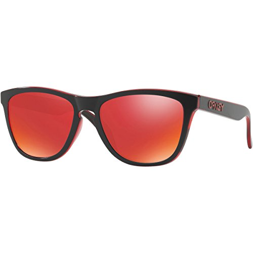 Oakley Men's Frogskins (a) Non-Polarized Iridium Rectangular Sunglasses, Eclipse Red, 54 - Sunglasses Eclipse