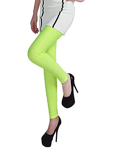 HDE Women's Shiny Leggings Solid Color Vibrant High Waist Fashion Stretch - Outfits Color Neon