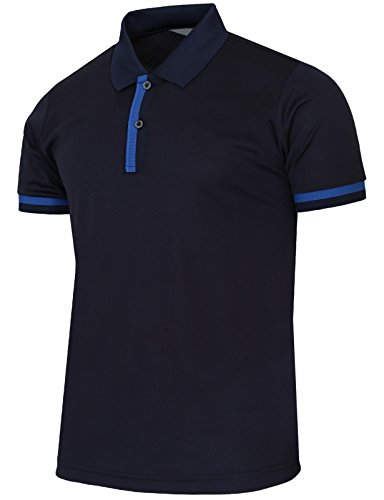 BCPOLO Men's Short Sleeves Polo Shirts Dri Fit Casual Solid Polo Shirt Navy-XL