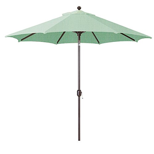 Galtech 9-Foot (Model 737) Deluxe Auto-Tilt Umbrella with Antique Bronze Frame and Sunbrella Fabric Spa (Includes Extended Frame Warrantee) ()
