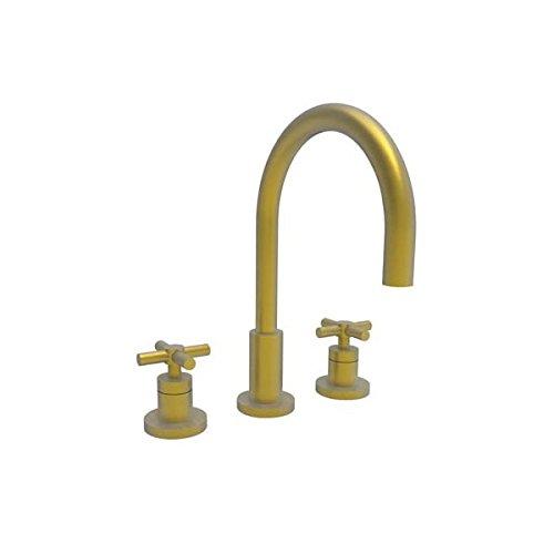 [Newport Brass 990/10 East Linear Double Handle Widespread Lavatory Faucet with Metal Cross Handles (L, Satin Bronze] (Bronze 990 Double Handle)
