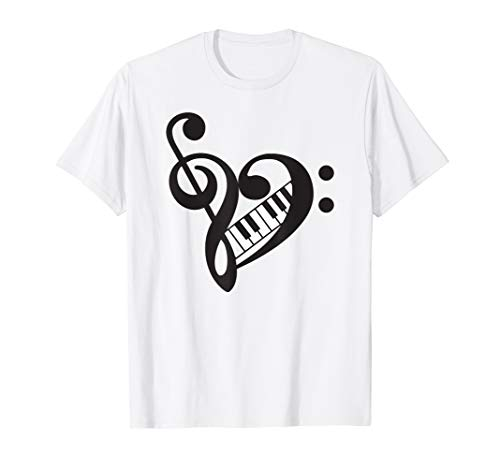- Treble Bass Clef Heart with Piano Keyboard Shirt