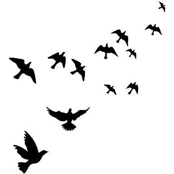 MLM Flying Black Bird Flying High to Sky 3D Creative Removable DIY Vinyl Wall Sticker Mural Decal Art Décor