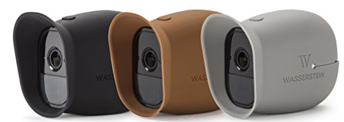 3 x Silicone Skins for Arlo Smart Security - 100% Wire-Free Cameras by Wasserstein ... (Arlo Pro, Black/Brown/Grey)