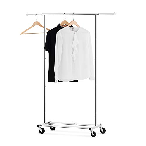 (Bextsware Clothes Rack Multi-Function Garment Rack, Heavy Duty Commercial Grade Clothes Rolling Rack on Wheels with Expandable Collapsible Clothing Rack,Holds up to 150 lbs, Chrome)